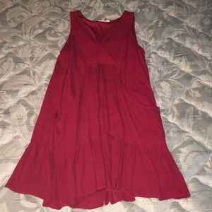Entro Red Ruffle Dress with Pockets